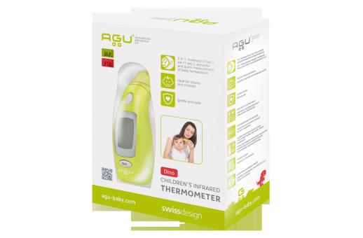 Детски инфрачервен термометър за измерване на температурата в ухото и на челото AGU Dino