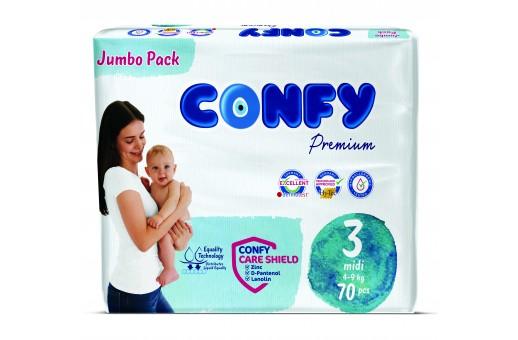 Бебешки пелени Confy baby размер 3 Midi (4-9 кг), 70 бр.